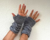 Gray Fingerless Gloves Mittens Wrist Warmers Chunky Warm Winter Accessories Winter Fashion