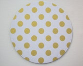 Mouse Pad mousepad / Mat  round or rectangle - Shiny big gold polka dots on white - Computer Accessories Custom Desk Coworker Office Gifts