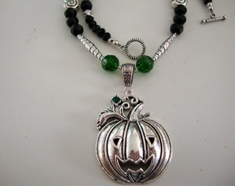 Women, Jewelry, Pumpkin Pewter Pendant with Black, Green, and Silver Necklace