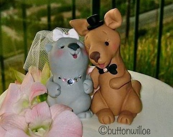 Kangaroo and Wombat in Love Cute and Funny Wedding Cake Topper Personalized on Heart