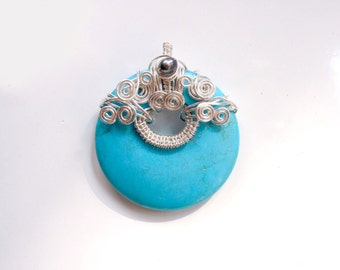 Turquoise, Silver & Black Pearl Pendant With Silver Swirls