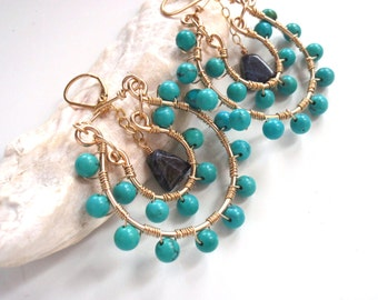 Turquoise and Gold Hoop Earrings with Sodalite, Very Bohemian