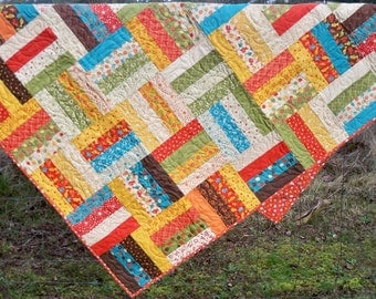 "Quilt child or large lap size 48"" X64"" bold colors boy quilt with fish moda fabrics"
