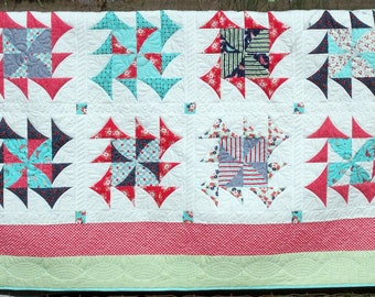 Nautical Summer Quilt Queen Size Day Sail fabrics by Bonnie and Camille Professional quilting 93 X 92 oversize