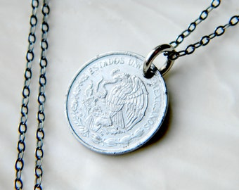 Sterling silver necklace with genuine 10 centavos coin - 1992 - handmade jewelry