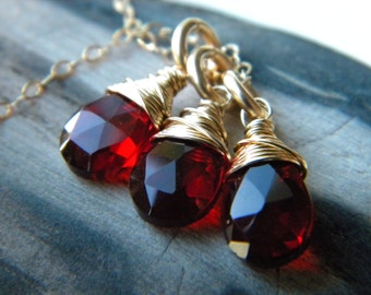 Gold filled faceted red quartz triple pendant necklace - handmade wire wrapped jewelry