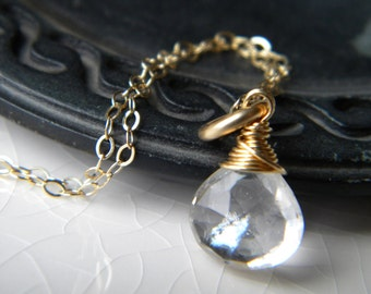 Wire wrapped briolette necklace - quartz crystal solitaire - 14k gold filled - handmade jewelry