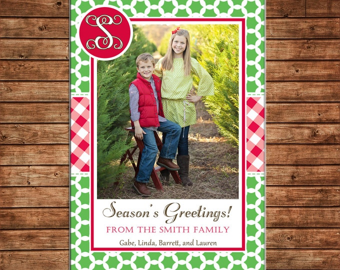 Photo Picture Christmas Holiday Card Quatrefoil Gingham Buffalo Check Monogram - Digital File