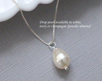 Swarovski Ivory Drop Pearl Necklace, Pearl Necklace, Bridesmaid Necklace, Bridesmaid Jewelry, Mother of the Bride Gift, Maid of Honor Gift