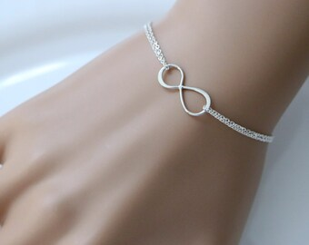 Infinity Bracelet, Sterling Silver Infinity Bracelet, Bridesmaid Bracelet Bridesmaid Gift, Bridesmaid Jewelry Wedding Bracelet, Gift for Her