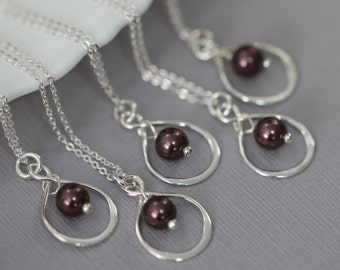 Burgundy Bridesmaid Gift Necklace, Swarovski Burgundy Pearl Necklace, Bridesmaid Jewelry, Maid of Honor Gift Necklace, Bridesmaid Maid