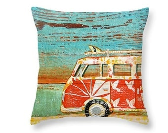 Vw volkswagen bus van at beach throw ART PILLOW, home decor pillow, housewares, maine art, distressed, mixed media, collage
