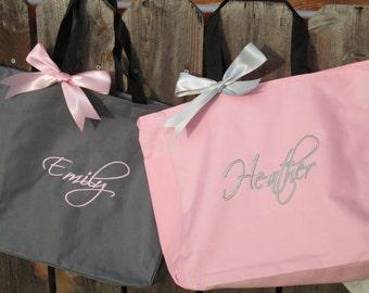 Set of 15 Personalized Bridesmaid Gift Totes, Monogrammed Tote Bags, Bridal Party Gift, Dance Bag, Beach Bag, Cheer Bag