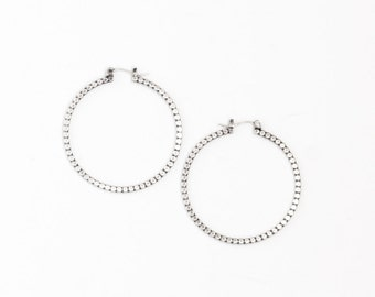 """Chic alternative to the classic hoop earring, a sleek design of flattened beaded silver wire and flip top earwires - """"Reyna Hoops - Small"""""""