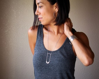 "Unique sterling silver necklace composed of curves and lines for a simple yet visually prominent overall look - ""Tribe Necklace - Small"""