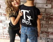 T Birds black child boys shirt Greaster Shirt tee Tshirt black lightning rocker 1950s 50s movie XXS XS S M L XL sock hop white dance music