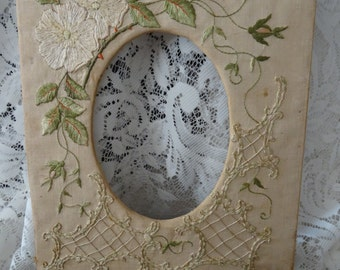 Vintage GORGEOUS Victorian Embroidered Photo Frame AS-IS