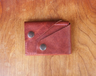 "Leather Wallet ""The Rawly"" in Rusted Brown - Ready to Ship"
