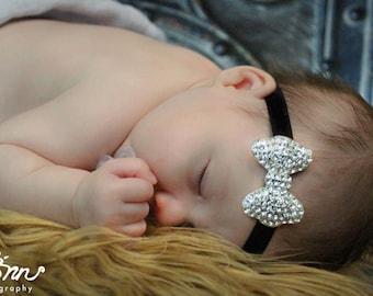 Silver Rhinestone Headband, Silver Crystal Hair Bow, Baby Headband, Toddler headband, Newborn Headband, Adult Headband, Jeweled Bow Headband