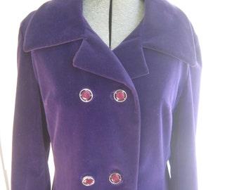 Vintage Coat Purple Velvet 60's 70's Mod