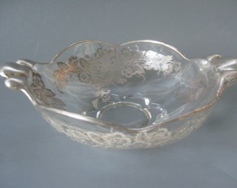 Vintage Bowl Dish Silver Overlay Art Deco Style