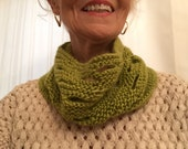 Stacked Lime Green Cowl,  Olive Cowl Scarf, Open Work Cowl,  Winter to Spring  Green Cowl 2029