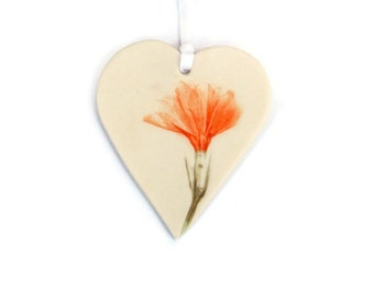Small Thank You Gift - Pressed Flower Decoration - Pressed Flower Art - Pressed Flowers - Ceramic Heart - Heart Decor - Hanging Hearts
