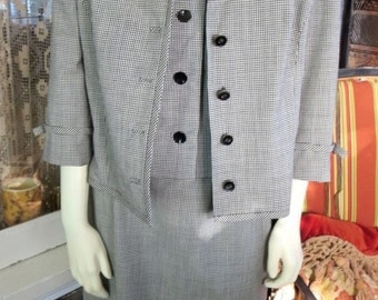1950s Vintage Breuninger Germany Three Piece Women's Wool Suit Dress Black & White 42 Bust