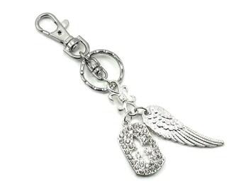 SALE 50% OFF Gothic Lolita Purse Clip - Angel Keychain w/ Glittering Swarovski Crystal Fleur De Lis Dog Tag and Angel Wing - By Ghostlove