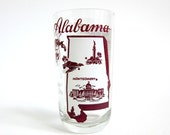 Vintage Alabama State Souvenir Glassware / Pictorial Highlights of State and State Song