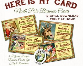 Santa Christmas Business Cards Digital Download Label Printable Tag DIY Vintage Style Image Clip Art Collage Sheet