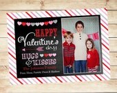 Pink Red Gray White Chalkboard Valentine Photo Card - Print your own