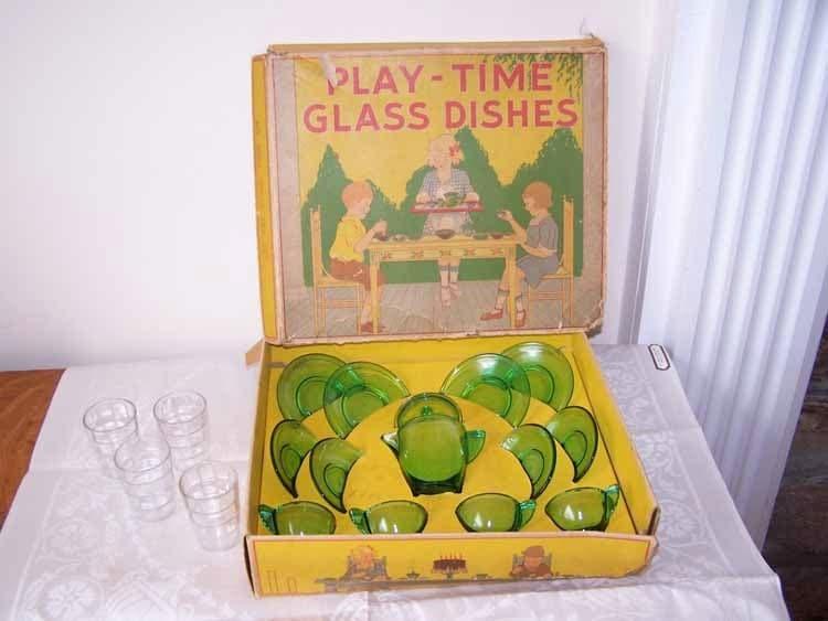 Vintage Play Time Akro Agate Tea Set Glass Dish Set By