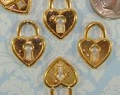 8 Heart Lock Charms Gold (17516) Padlock Jewelry Supplies Pendant Bulk Charms Love Token Wedding Bridal Shower Gold Charm Wine Marker