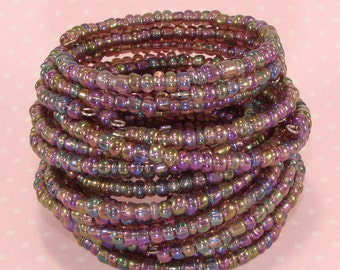 6 Iridescent AMETHYST Beaded Stacked Bracelet Set Stretch Memory Wire Stocking Stuffer Party Favor Bridesmaid Valentine's Day Bulk Bangles