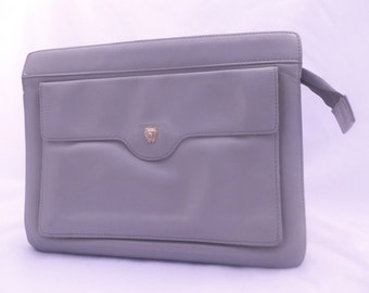 Vintage GRAY CLUTCH • 80s Leather Anne Klein Purse