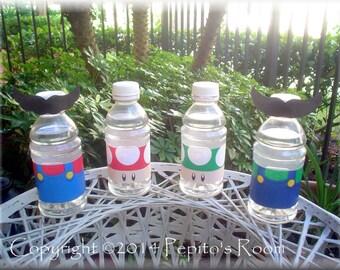 Print-INK Super Mario Bros. A La Carte Bottle Wraps / Straw Flags / Mustaches - DIY Digital Printable PDF