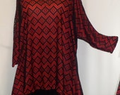 Coco and Juan Lagenlook Plus Size Top Black Lace with Red Drape Sides Tunic Top One Size Bust  to 60 inches