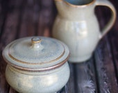 Sugar and Creamer set- Handthrown pottery- small pitcher and lidded sugar jar.    Slate Gray glaze