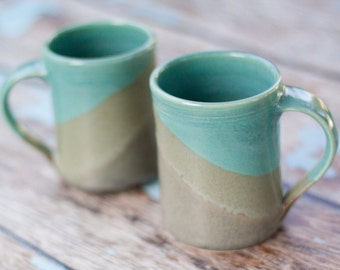 Set of 2 Large Handmade Ceramic Mugs  -- Gray and Aqua blue -- 16 oz Hand thrown ceramic cup handmade mugs