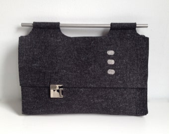 SALE Laptop/Briefcase in Charcoal Felt - Free US Shipping