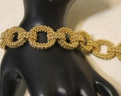 Beadwork - Gold Chain Linked Seed Bead Bracelet
