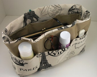 Purse Organizer Insert  - Paris Postcard Print- Extra Large pictured- 5 sizes avaiable with options.- Choice of lining color