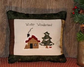 Winter Wonderland Pillow - Lodge Decor, Moose, Mountains, Cabin, Forest