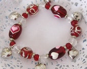 Heart Beaded Stretch Bracelet with Silver Hearts
