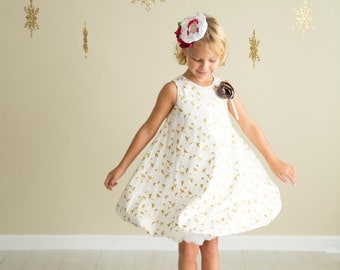 "Glowing ""Little Angel"" Bubble Dress for Girls - Gold & White - Flower Embellishment - Christmas - Holiday - Birthday - Party - Celebration"