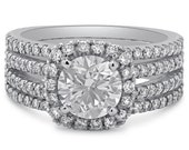 Round cut four shank pave diamond engagement ring R203