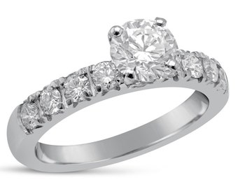 1.20ct Round cut prong set diamond engagement ring with round diamonds R226
