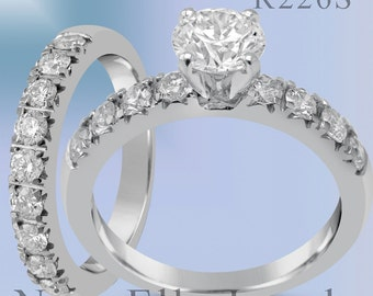 1.20ct Round cut prong set diamond engagement ring and band with round diamonds R226S