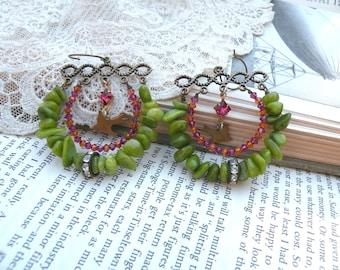 earrings assemblage swarovski beaded hoop bird green unique winter jewelry upcycle rhinestones